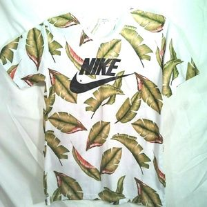 Nike T-Shirt Men's L Swoosh Logo Tropical Palm Wht